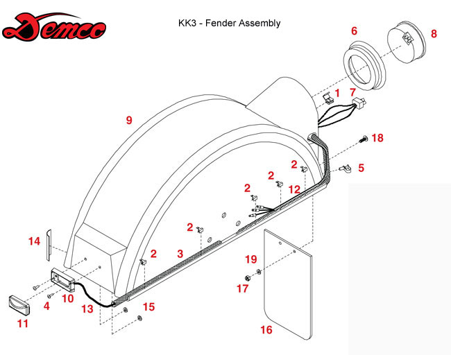 Demco Tow Dolly  Kar Kaddy 3  Fender Assembly