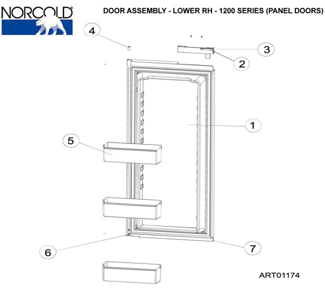 norcold refrigerator  1200ac  lower door assy  rh  panel