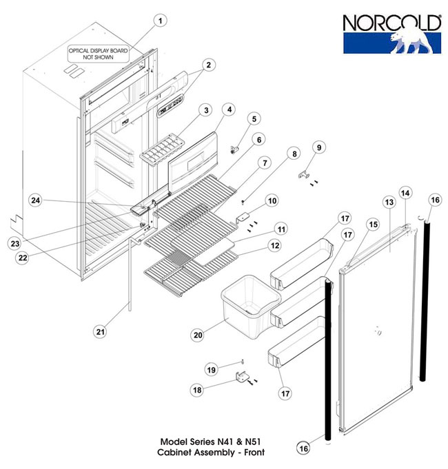 Refrigerator, N510.3, Cabinet y, Front on