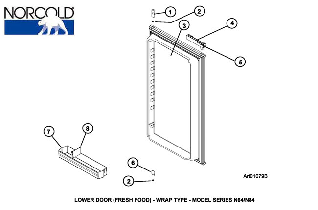 Norcold Refrigerator N641im Lower Door Assy Wrap Style