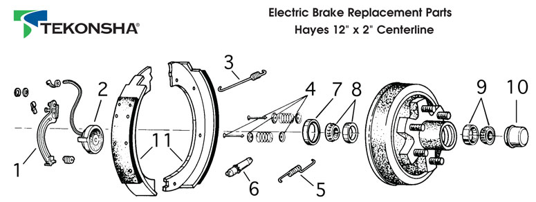 Electric Brakes, for Hayes, 12x2, Centerline